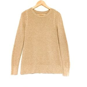 LOFT Brown Comfy Brown Mixed Cable Knit Sweater-S